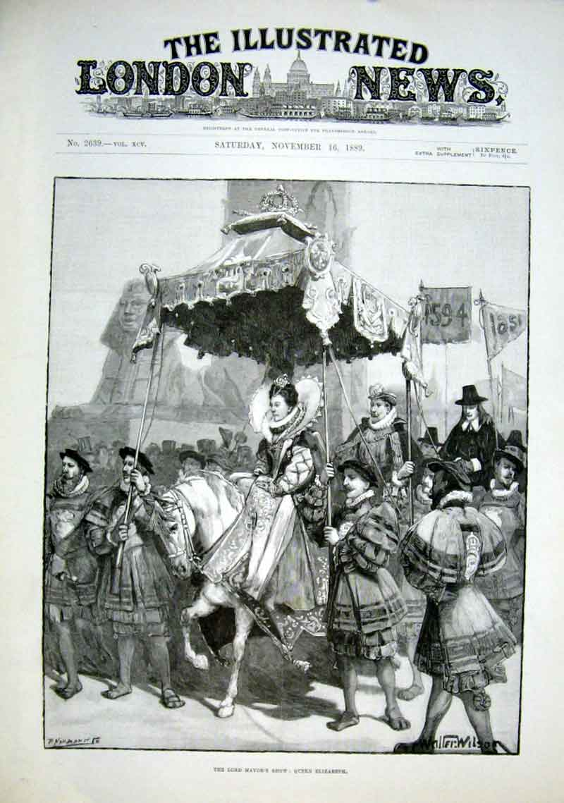 Print Queen Elizabeth 1854 Lord Mayors Show 1889 14Aaa1 Old Original