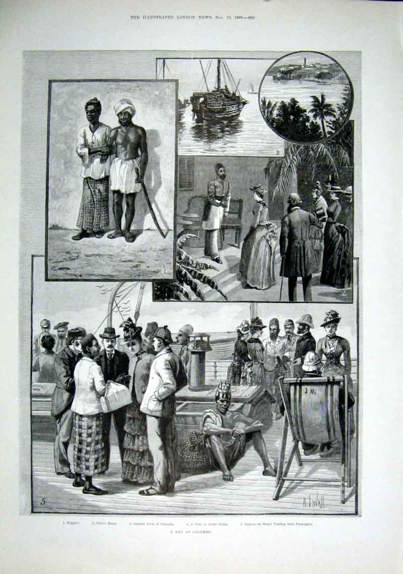 Print Tourists Day At Colombo India 1889 20Aaa1 Old Original