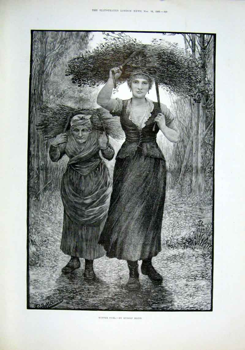 Print Mather ^& Daughter Gather Winter Fuel By Blind 1889 21Aaa1 Old Original
