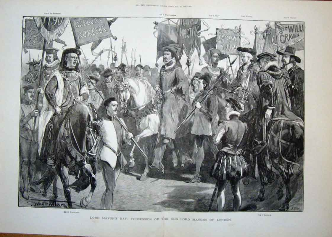 Print Procession The Lord Mayors London 1889 27Taaa1 Old Original