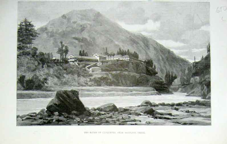Print The Baths Canquenes Nr Santiago Chile 1889 50Laaa1 Old Original