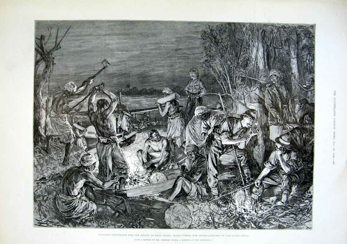Print Stanley Africa Woodcutting For Launches On Congo 1889 97Aaa1 Old Original