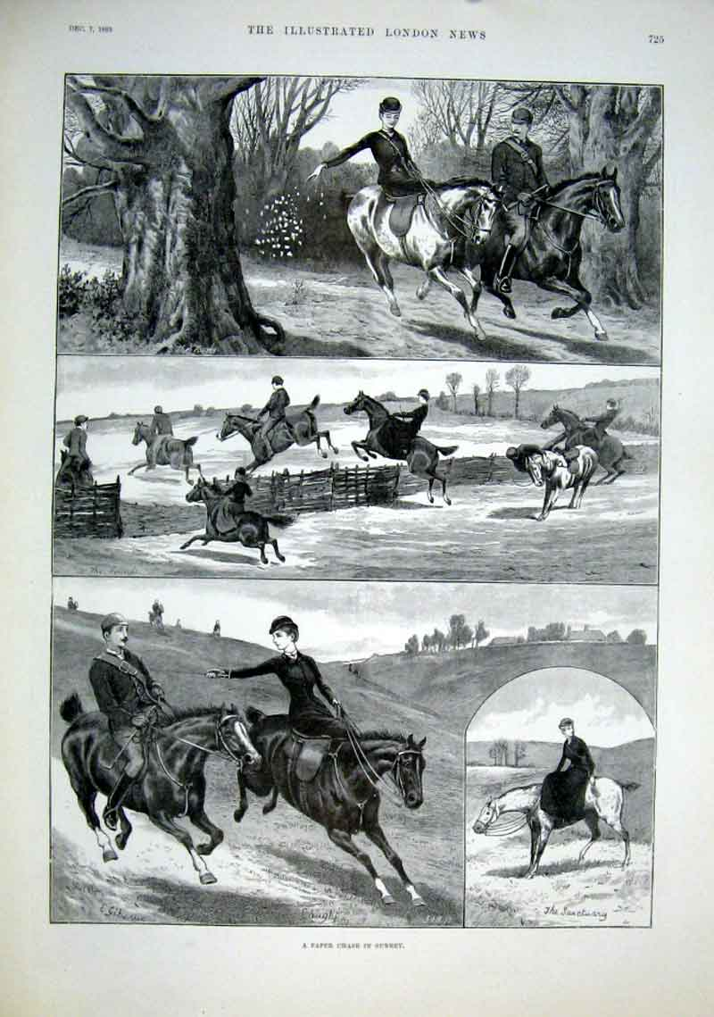 Print Paper Chase In Surrey 1889 25Aaa1 Old Original