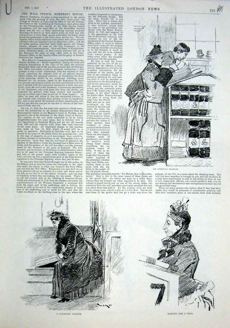 Print The Will Office Somerset House London 1889 33Aaaa1 Old Original
