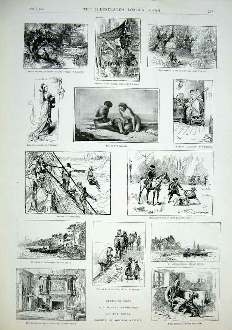Print Winter Exhibition British Artists 1889 37Aaa1 Old Original