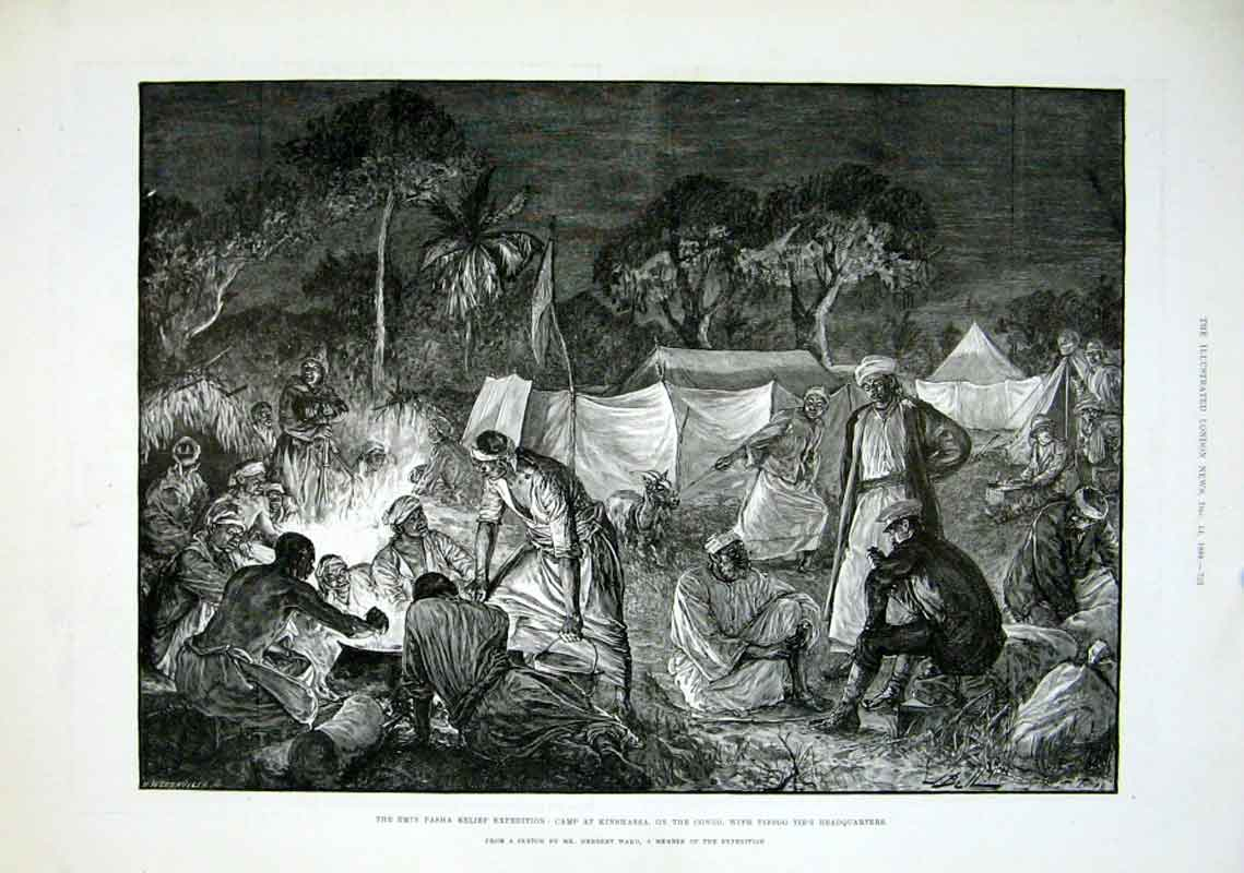 Print Camp At Kinshassa On The Congo 1889 Africa 53Aaa1 Old Original