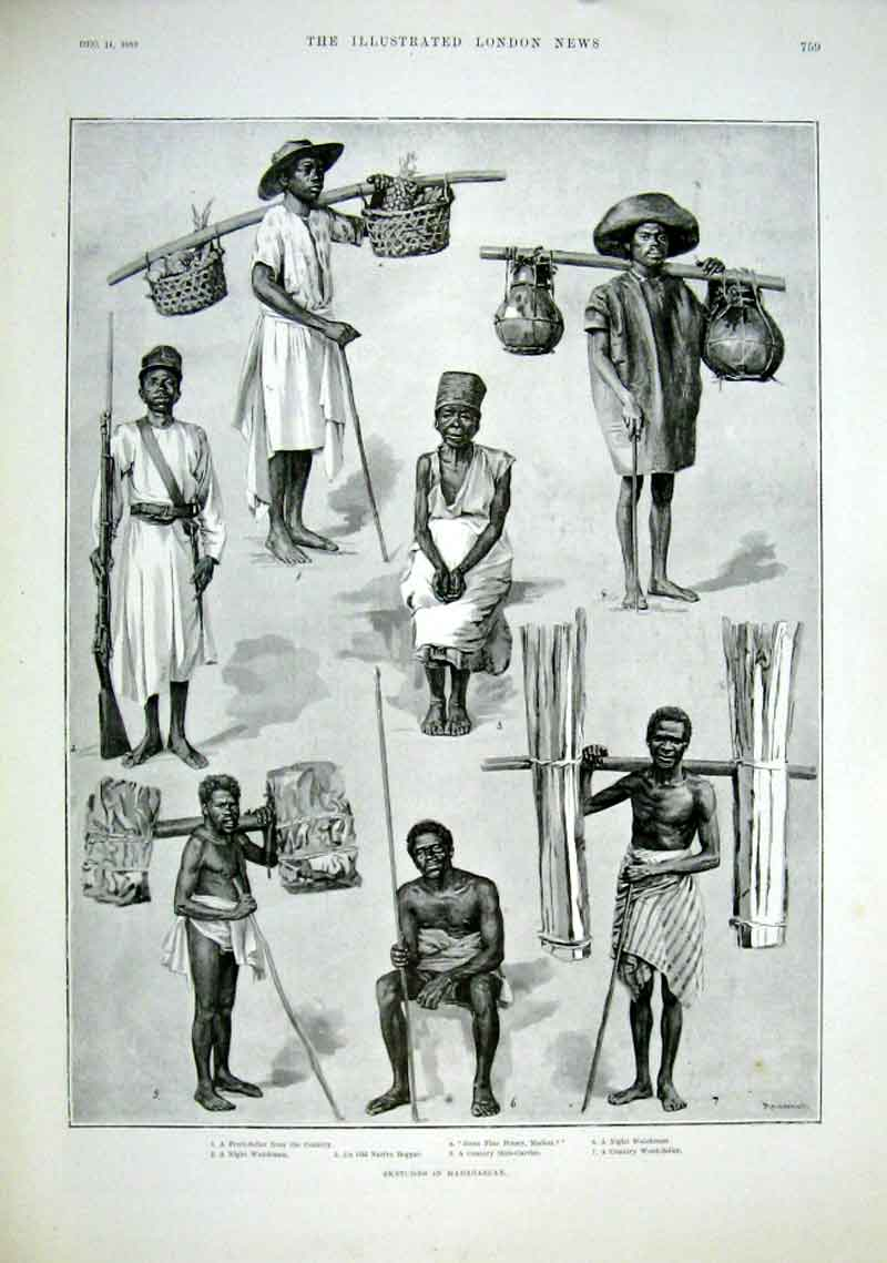 Print Sketches In Madagascar 1889 59Aaa1 Old Original