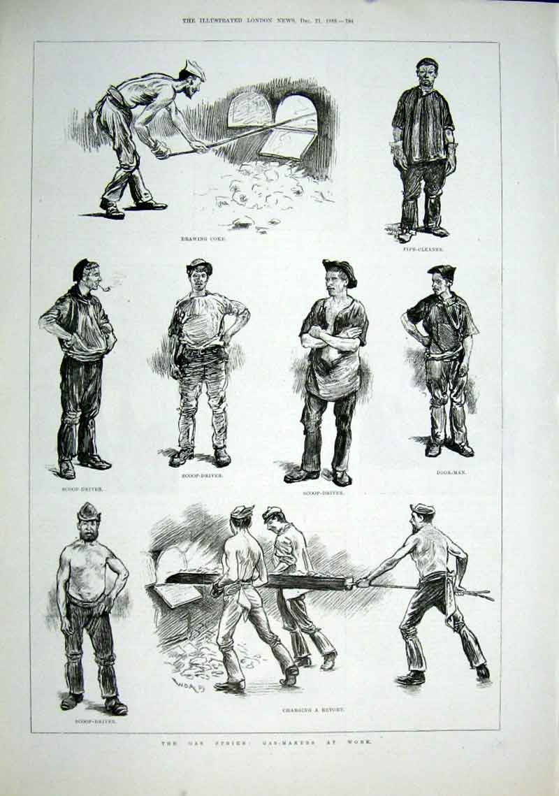 Print The Gas Strike 1889 Gas Makers At Work 84Aaa1 Old Original