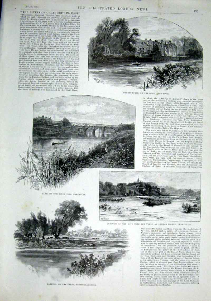 Print Rivers Ouse Tees Trent & Dove 1889 91Aaa1 Old Original