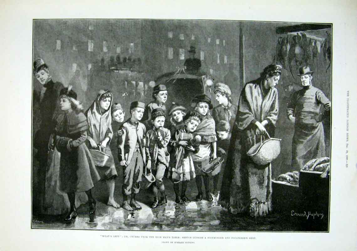 Print Outside A Fishmonger & Poulterers Shop 1889 F 21Aaa1 Old Original