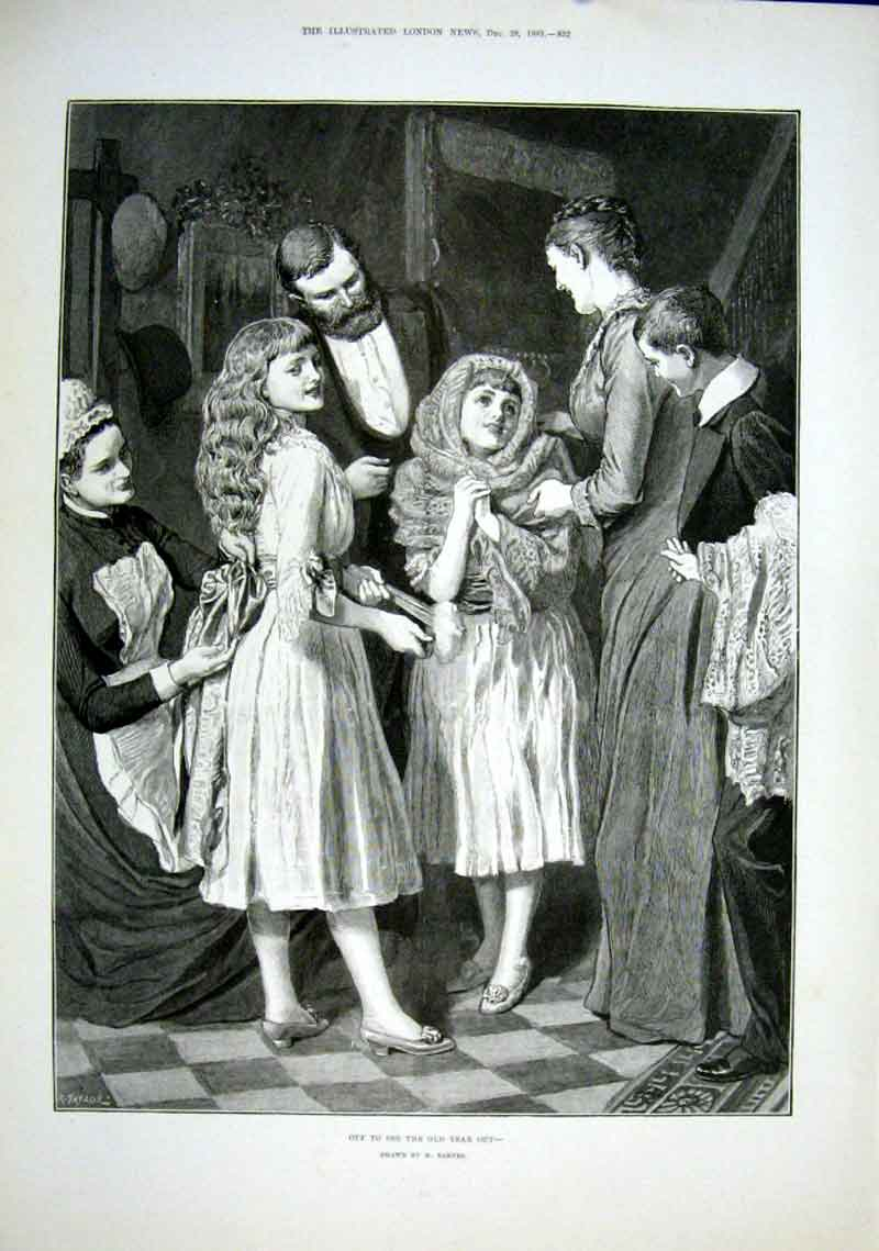 Print New Years Eve Off To See The Year Out By Barnes 188 32Aaa1 Old Original