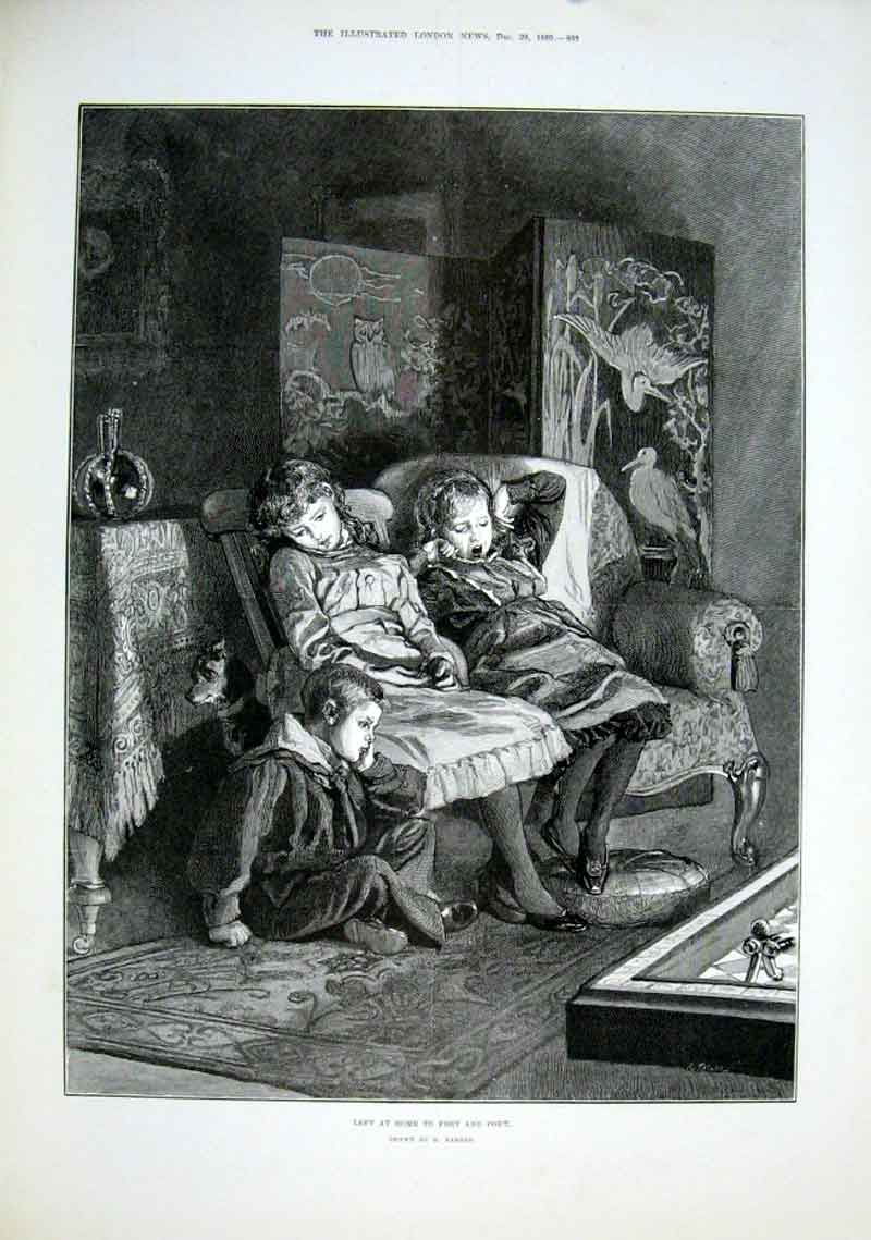 Print New Years Eve Left At Home By Barnes 1889 33Aaa1 Old Original