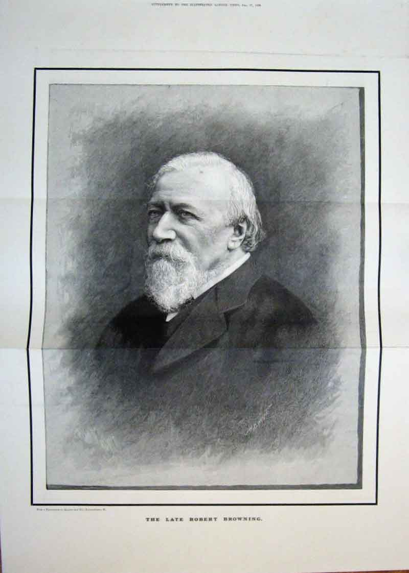 Print Large Portrait Robert Browning 1889 08Taaa1 Old Original