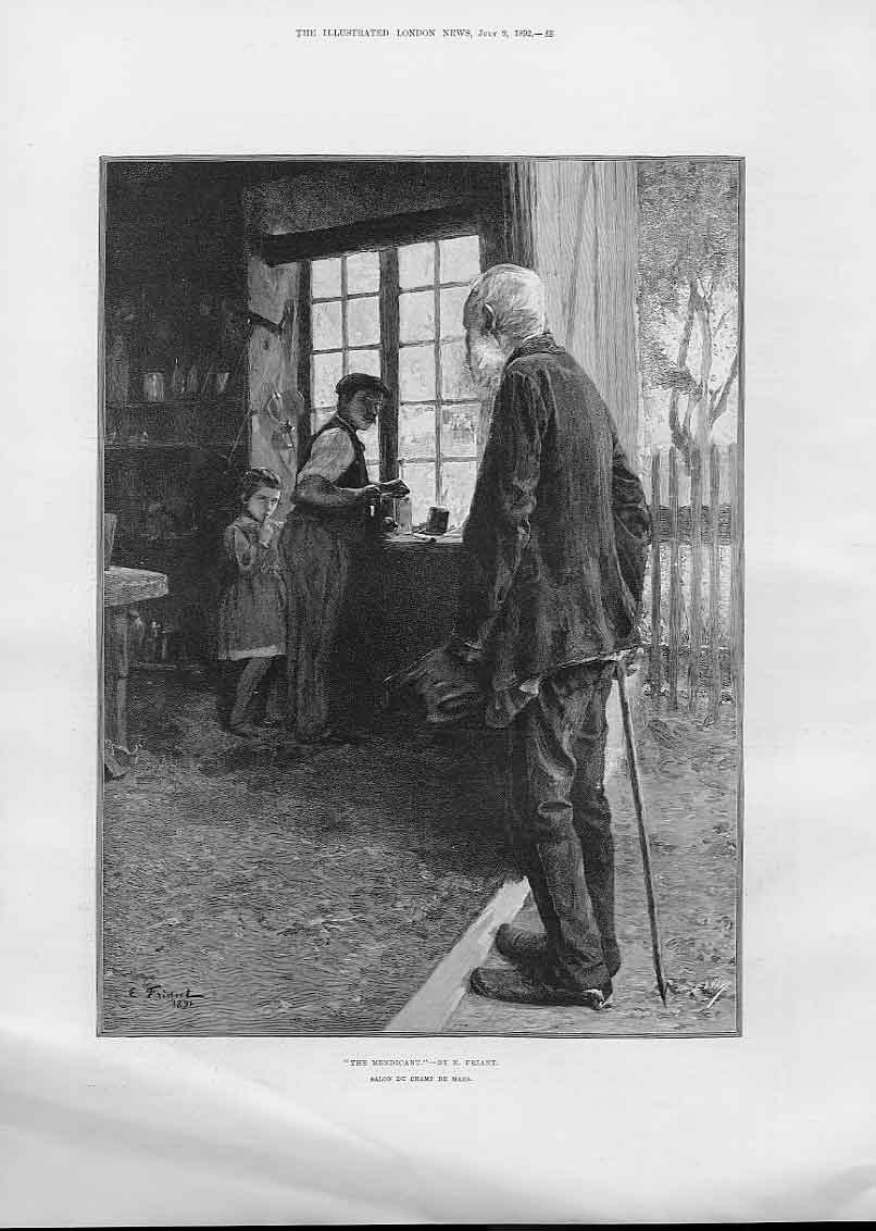 Print The Medicant By Friant Fine Art 1892 48Aaa1 Old Original