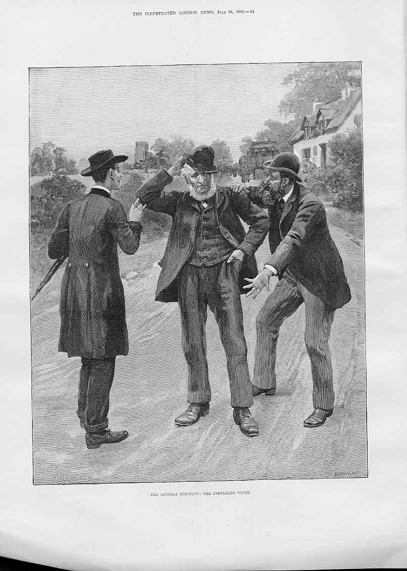 Print Perplexed Voter 1892 General Election 84Aaa1 Old Original