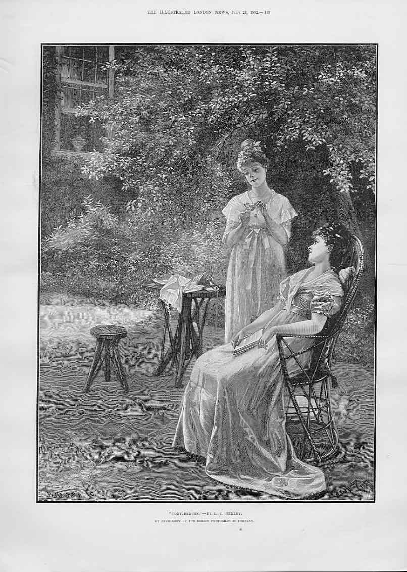 Print Two Girls Exchange Confidences Fine Art By Henley 13Aaa1 Old Original