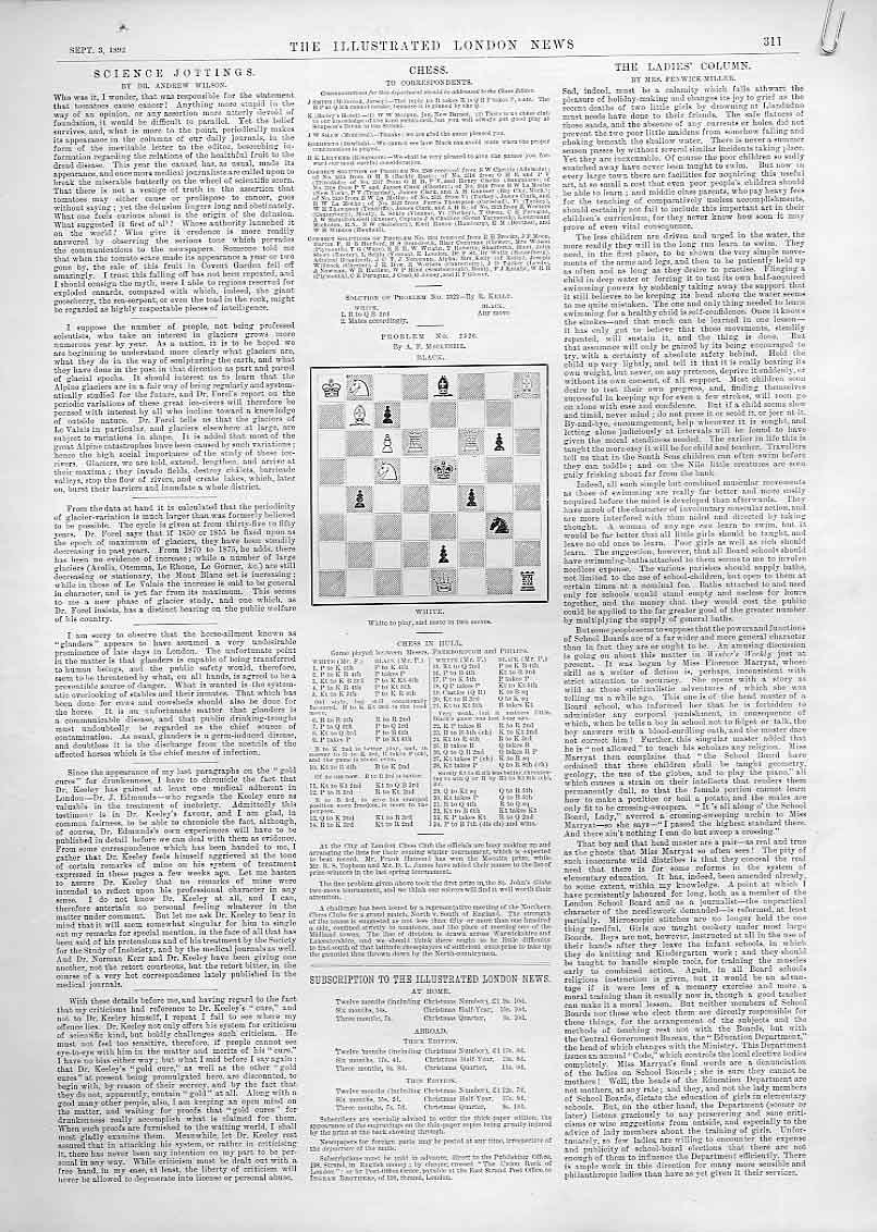 Print 3 Chess Problems And Games 1892 51Aaaa1 Old Original