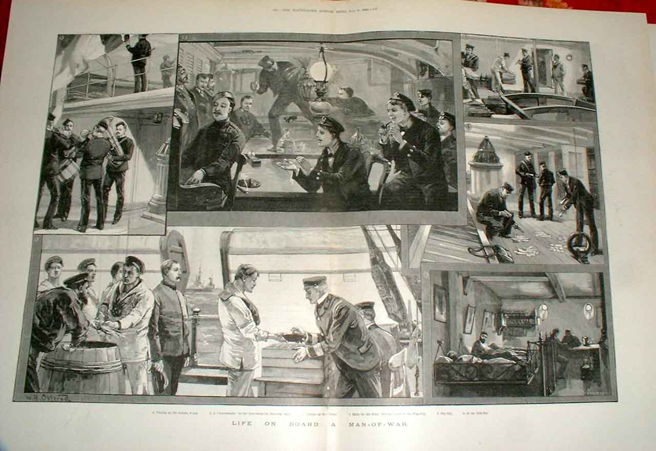 Print Life On Board Man War Fine Art 1892 Ships 75Taaa1 Old Original