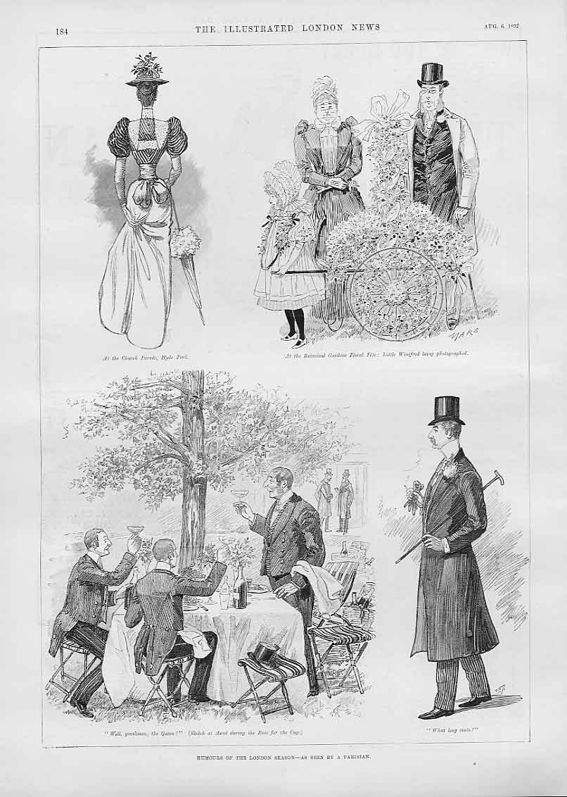 Print Humours London Season As Seen By A Parisian 1892 84Aaa1 Old Original