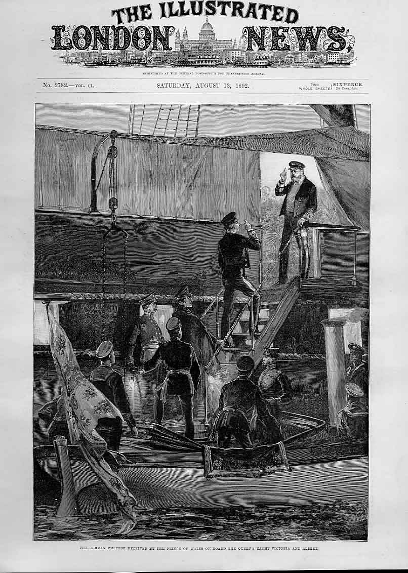 Print German Emperor On Board Queens Yacht Victoria & Albert 94Aaa1 Old Original