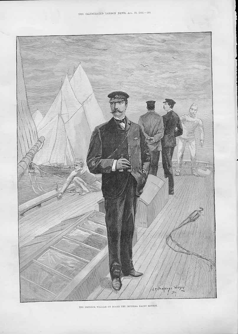 Print The Emperor William On Board The Imperial Yacht Meteor 04Aaa1 Old Original