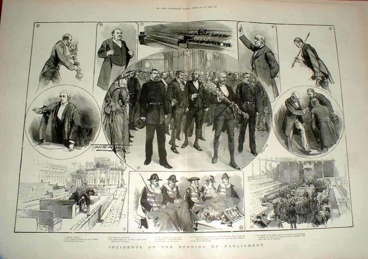 Print Incedents At Opening Parliament 1892 07Taaa1 Old Original