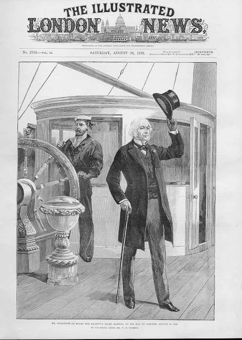 Print Gladstone On Board Hm Yacht Albert 1892 26Aaa1 Old Original