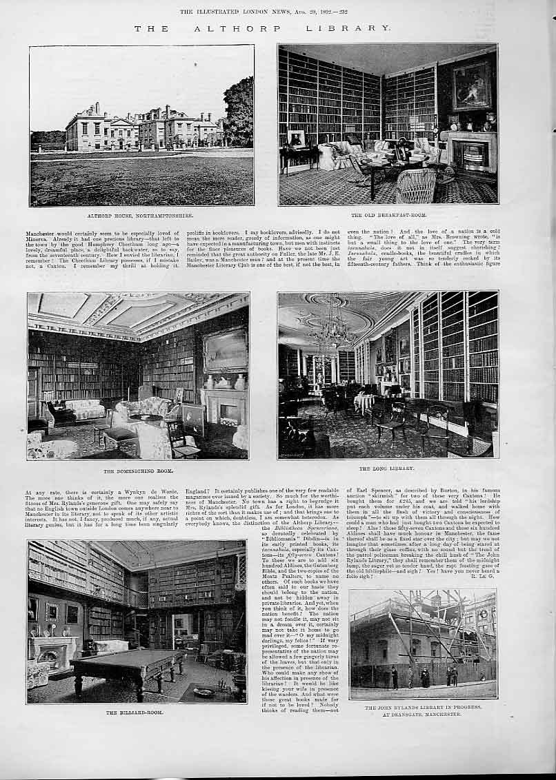 Print The Althorpe Library 1892 32Aaa1 Old Original