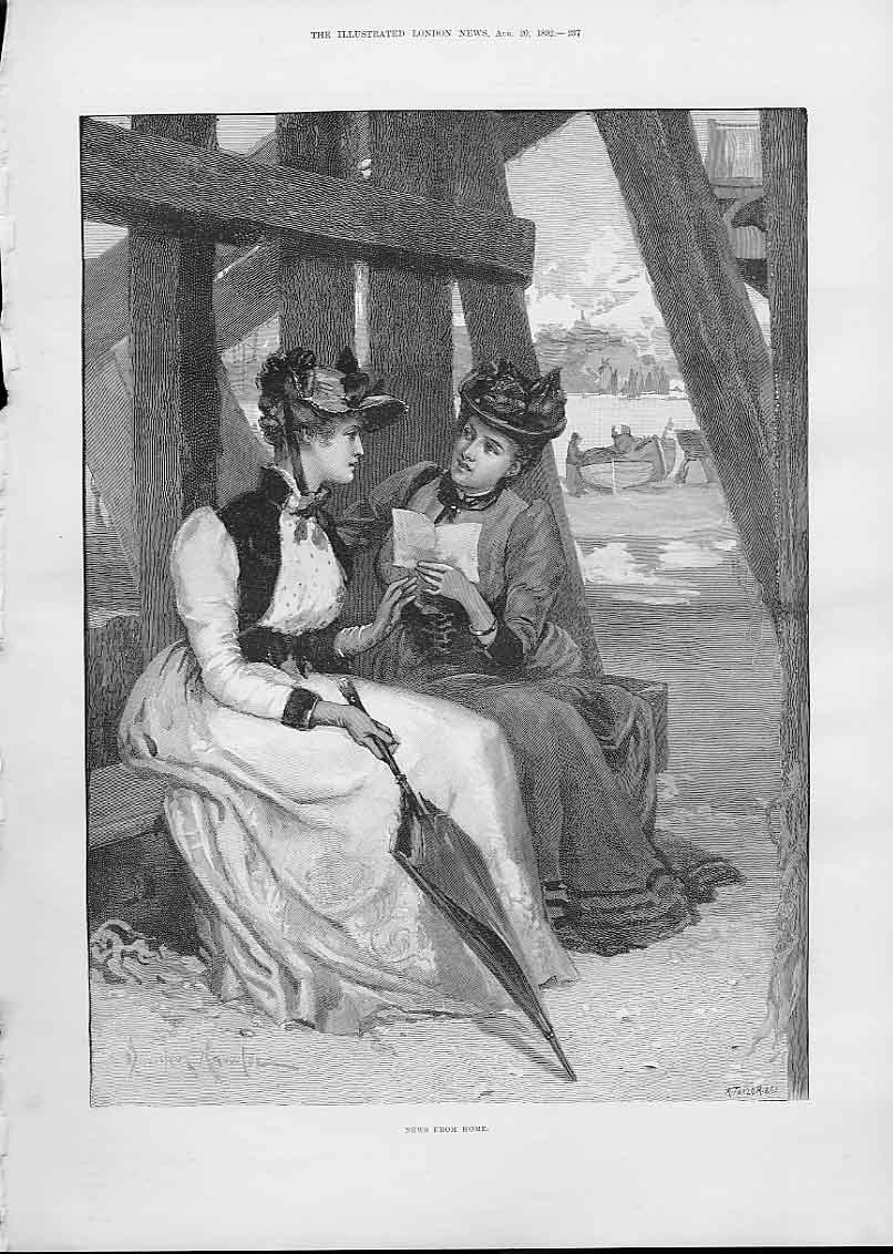 Print Two Ladies Discuss News From Home Fine Art 1892 37Aaa1 Old Original