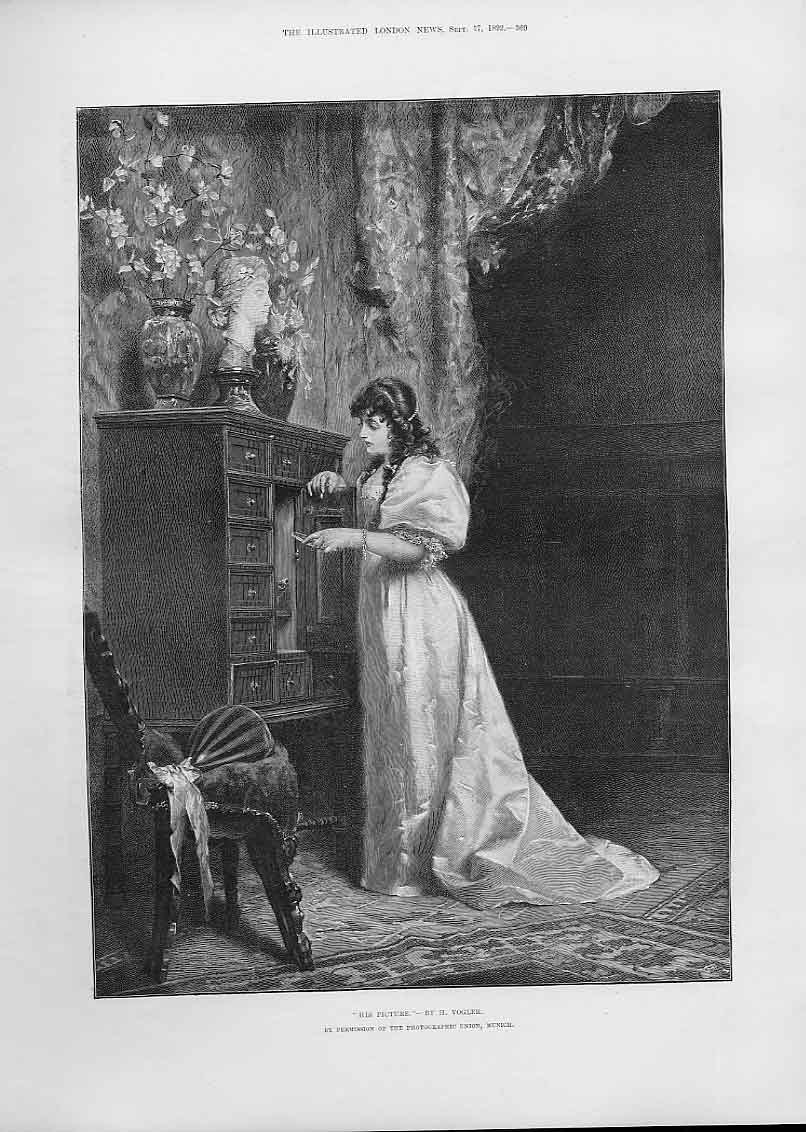 Print Girl Admires His Picture By Vogler Fine Art 1892 69Aaa1 Old Original