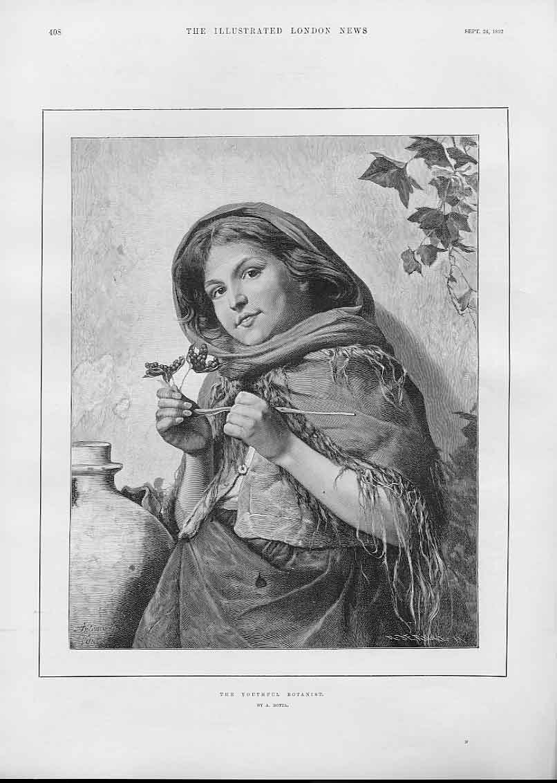 Print The Youthfull Botanist By A Rotta Fine Art 1892 08Aaa1 Old Original