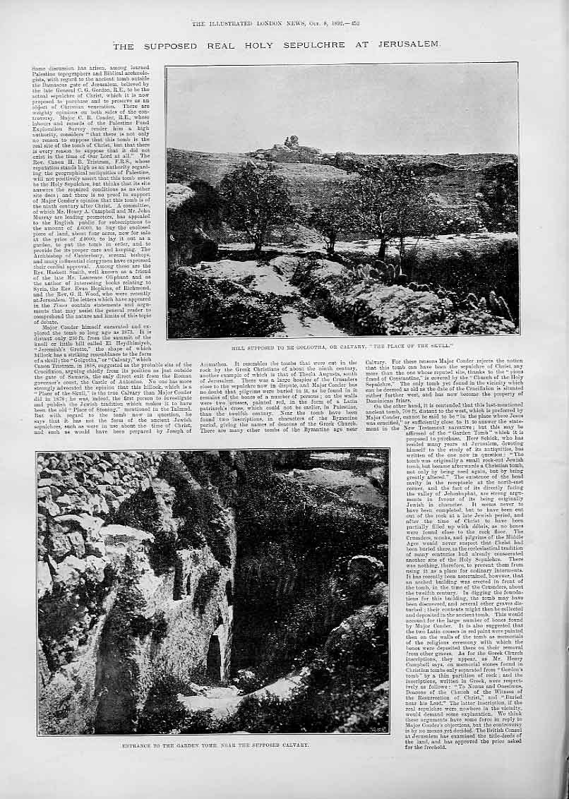 Print Supposed Real Holy Sepulchre At Jerusalem 52Aaa1 Old Original