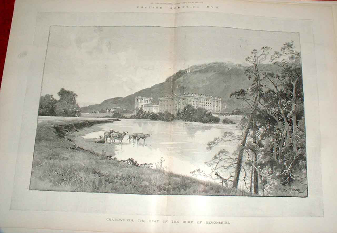Print Chatsworth From The Park 1892 Derby Shire 51Taaa1 Old Original