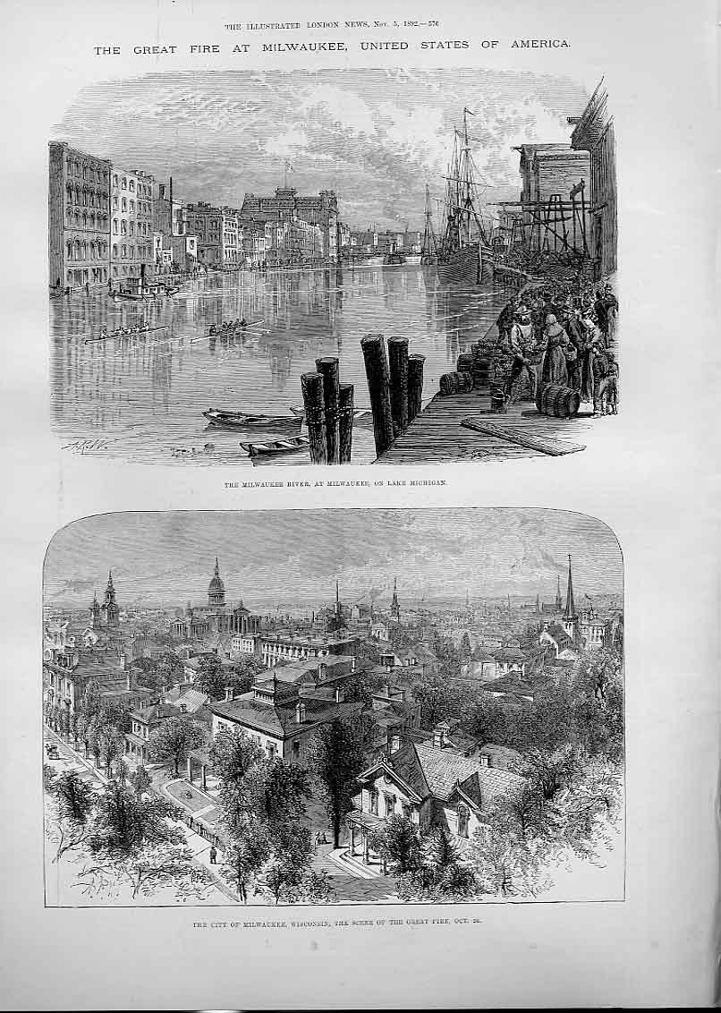 Print Great Fire At Milwaukee Wisconsin America 76Aaa1 Old Original