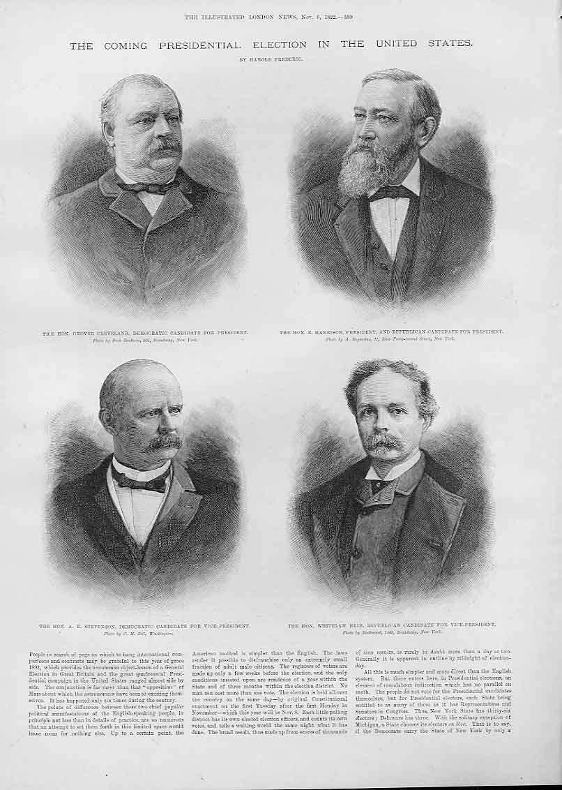 Print Presidential Candidates 1892 Election America 80Aaa1 Old Original