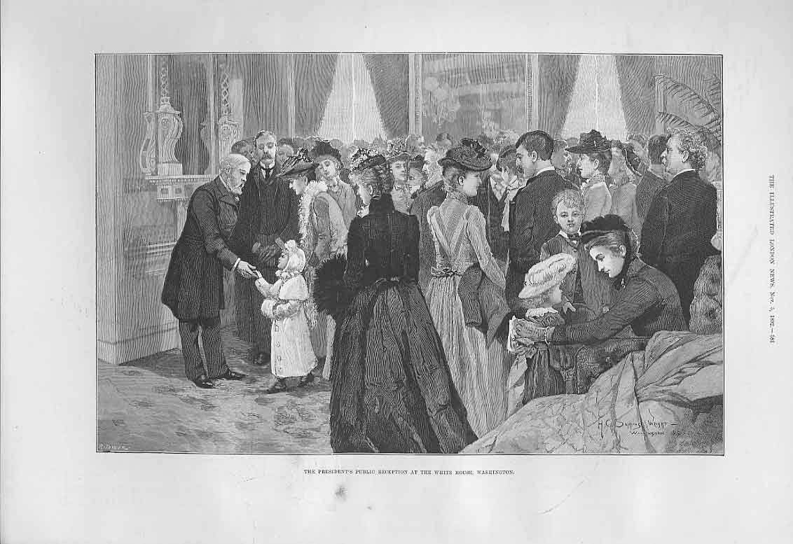 Print Presidents Public Reception White House Washington 1892 81Aaa1 Old Original