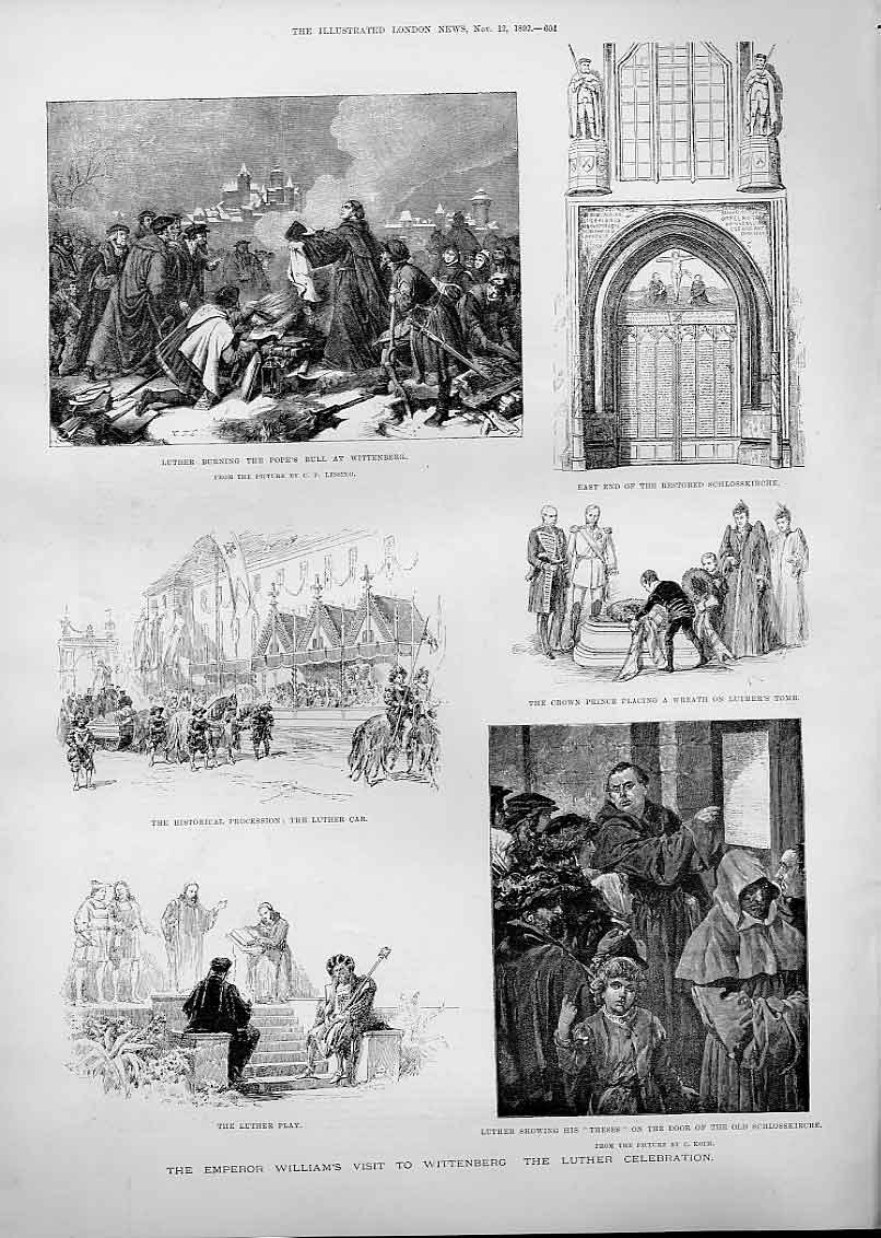 Print Emperor William Visit Wittenberg For Luther Celebration 04Aaa1 Old Original
