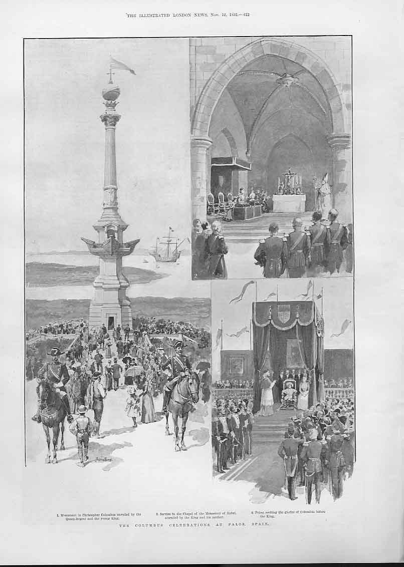 Print The Columbus Celebrations At Palos Spain 1892 12Aaa1 Old Original