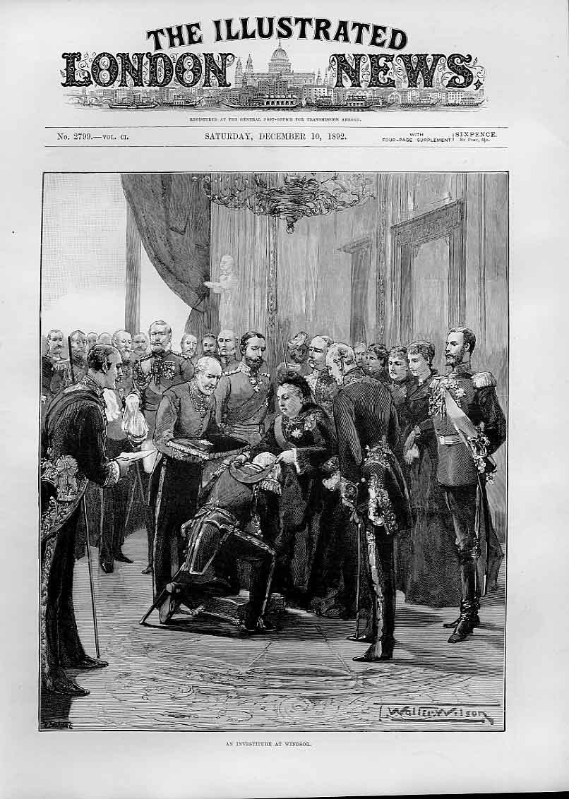 Print 1892 An Investiture At Windsor 34Aaa1 Old Original