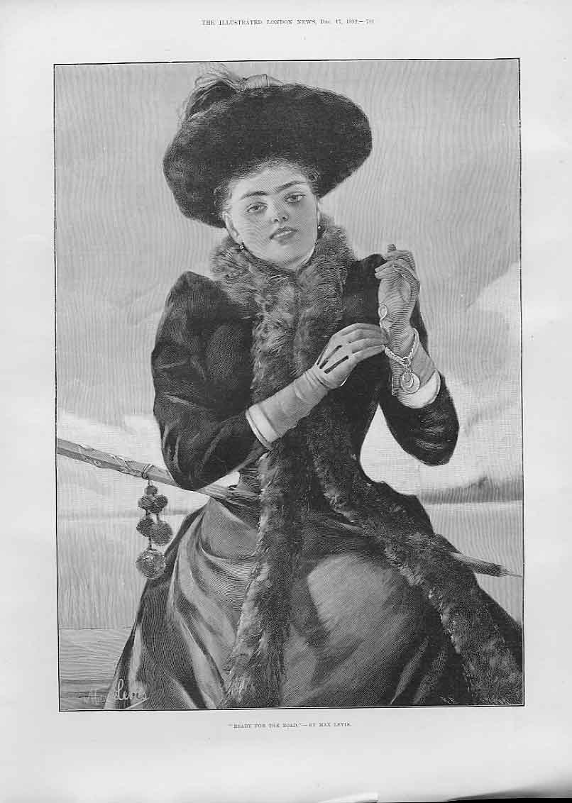 Print Girl Ready For The Road By Max Levis Fine Art 1892 81Aaa1 Old Original