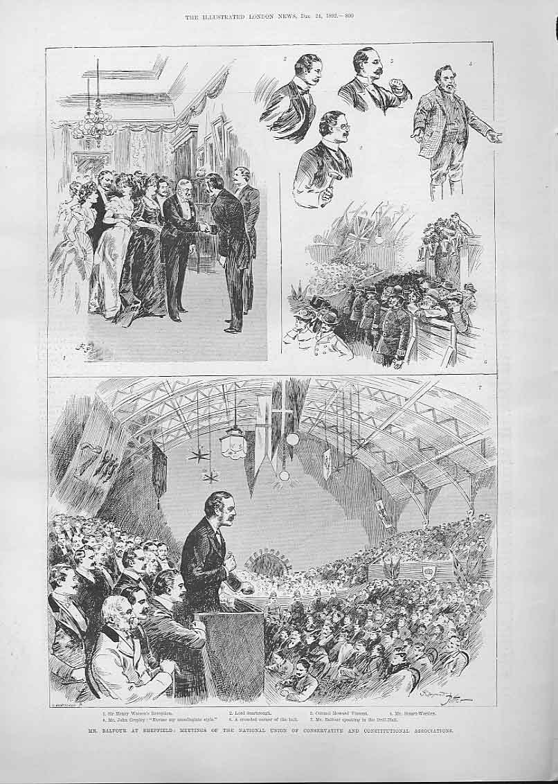 Print Mr Balfour At Sheffield Conservative Associations 1892 00Aaa1 Old Original