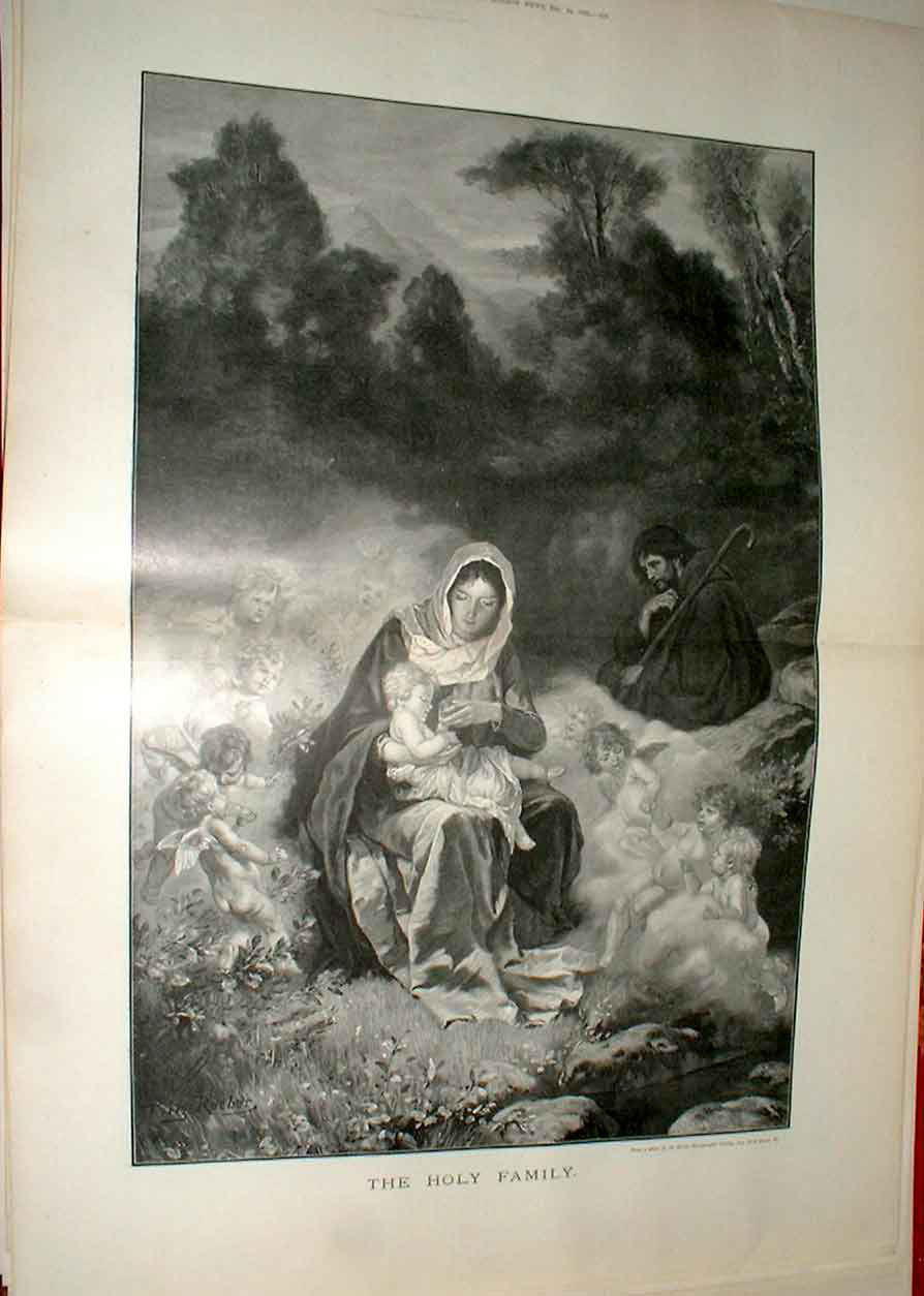 Print The Holy Family Fine Art 1892 Religion 11Taaa1 Old Original