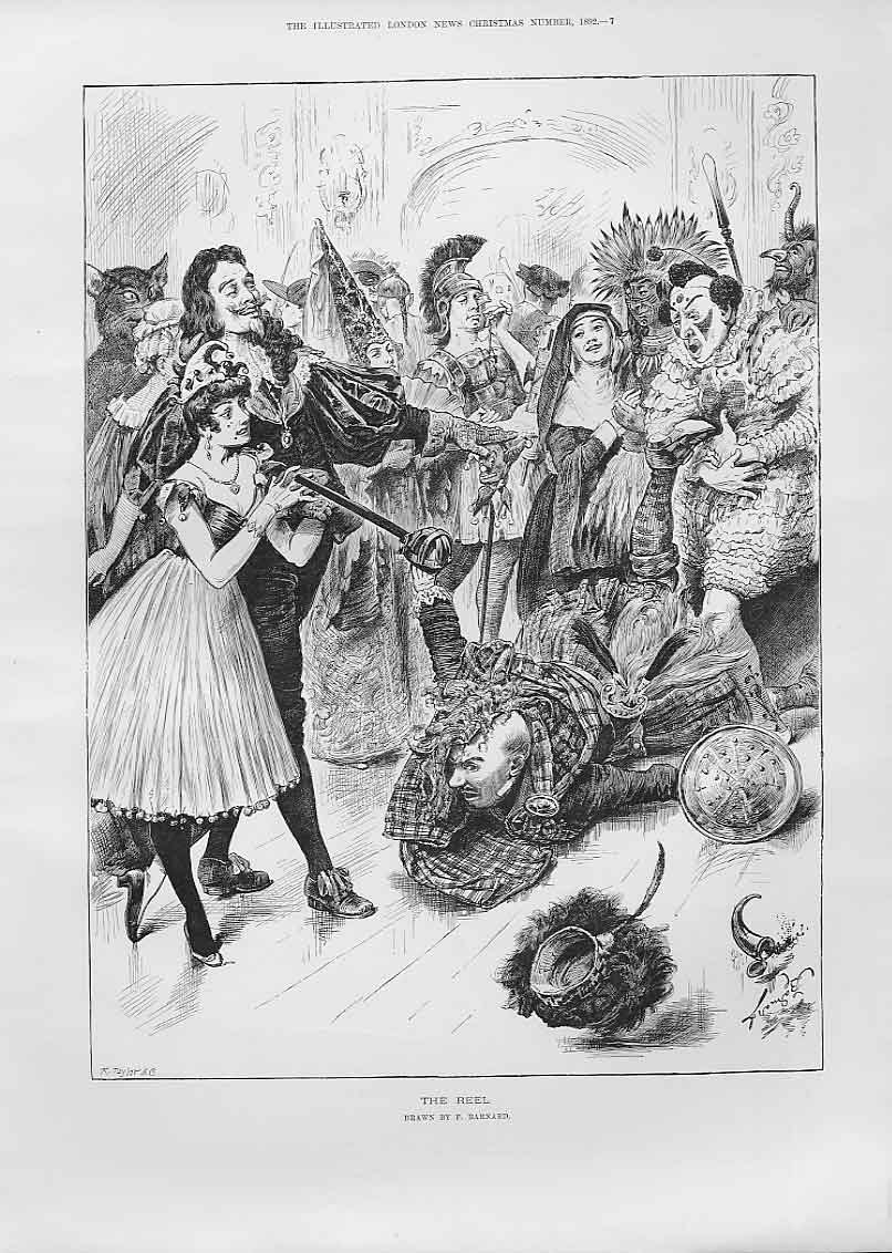 Print The Highland Reel By Barnard Fine Art 1892 67Aaa1 Old Original