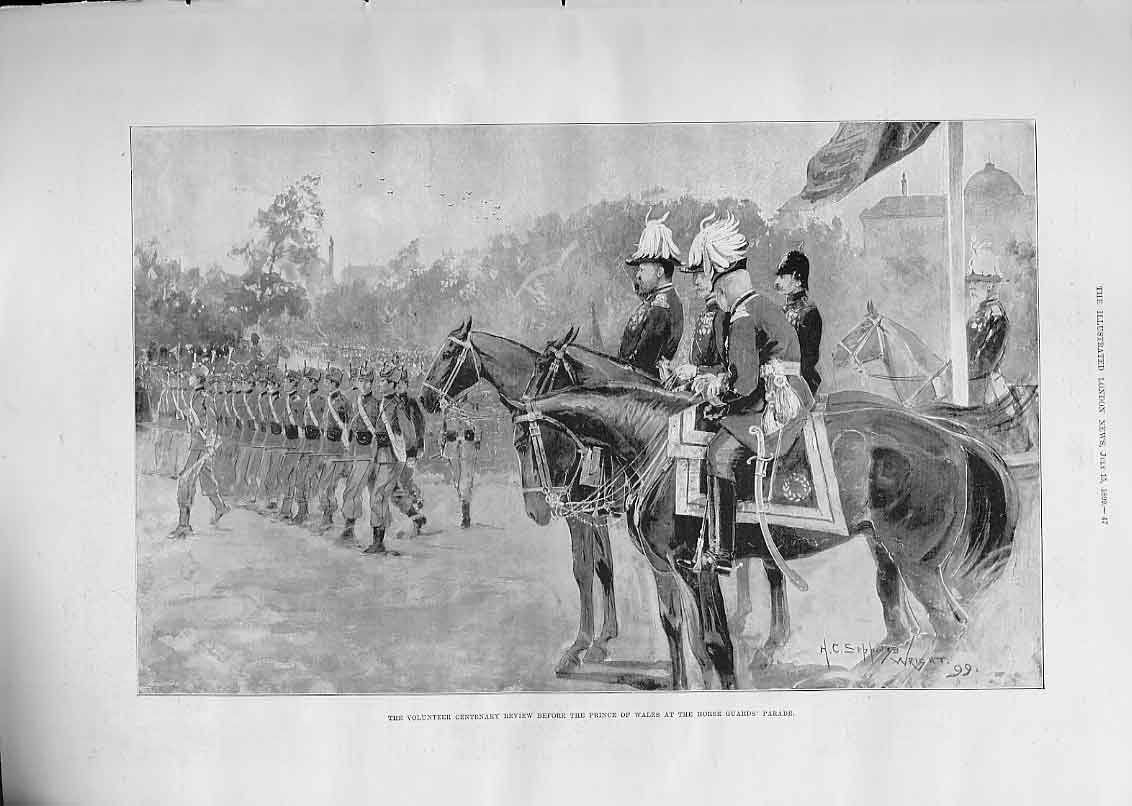 Print Volunteer Centenary Review Prince Wales 1899 47Aaa1 Old Original