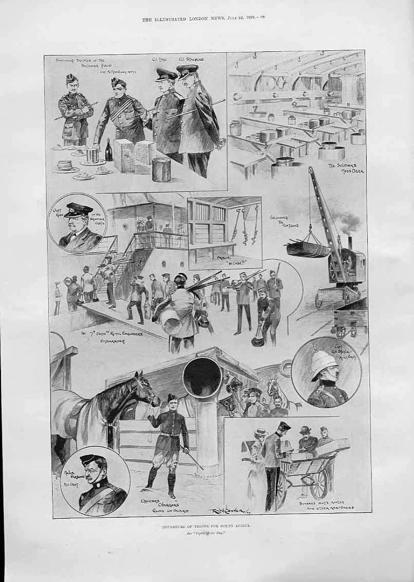 Print Departure Troops For S Africa 1899 98Aaa1 Old Original