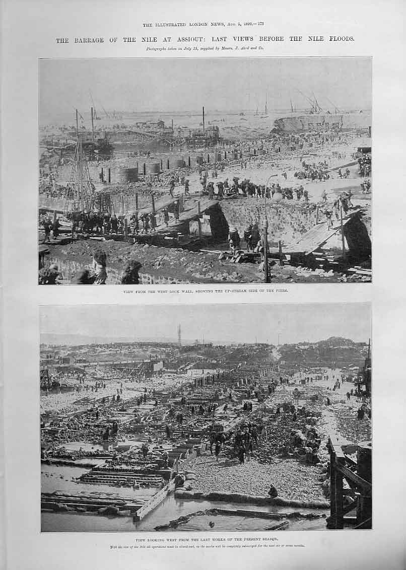 Print Barrage Nile Assiout Before Floods 1899 E 73Aaa1 Old Original