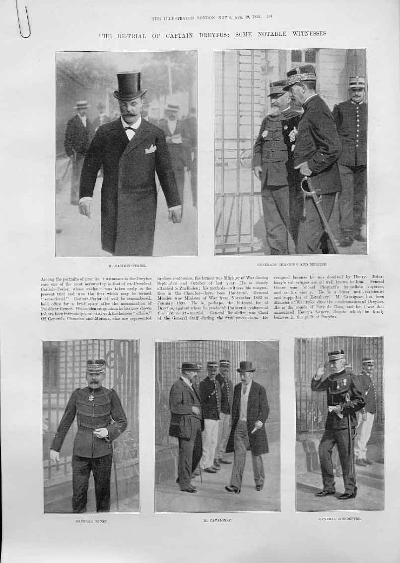 Print Witness At Retrail Capt Dreyfus 1899 Rennes 44Aaaa1 Old Original