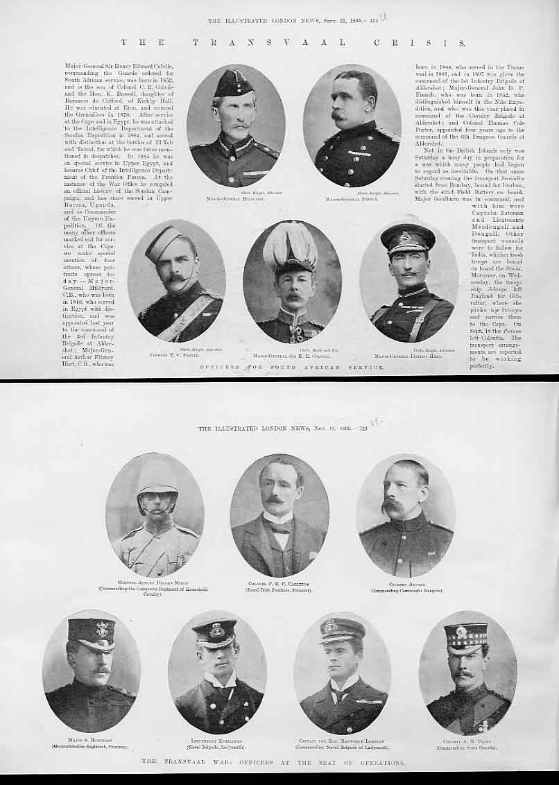 Print 19 Portraits Officers South Africa Service 1899 24Uaaa1 Old Original