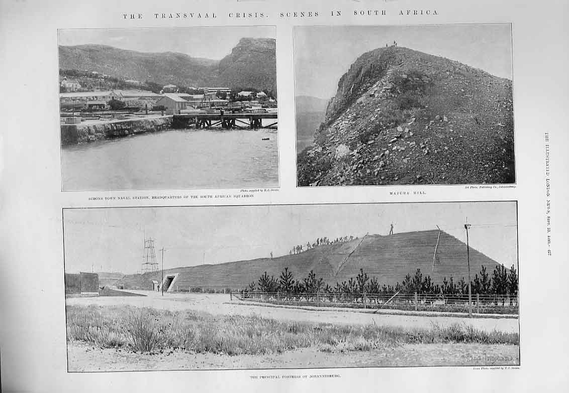 [Print Johannesburg Fortress Simons Town S. Africa 1899 27Aaa1 Old Original]
