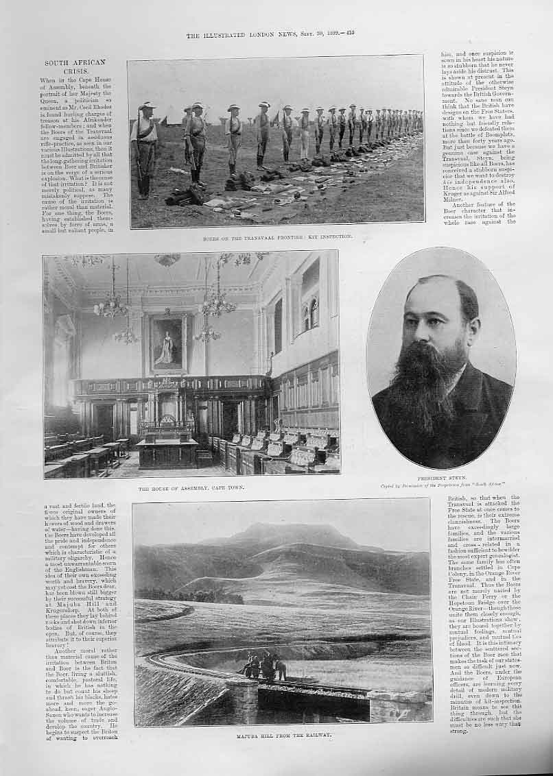 [Print House Assembly Cape Town Majuba Hill S Africa 1899 53Aaa1 Old Original]